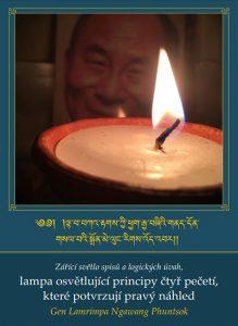 Zářící světlo spisů a logických úvah, lampa osvětlující principy čtyř pečetí, které potvrzují pravý náhled